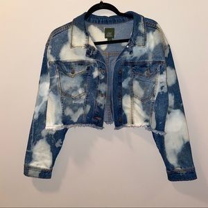 Cropped Distressed/Bleached Denim Jacket Sz Large